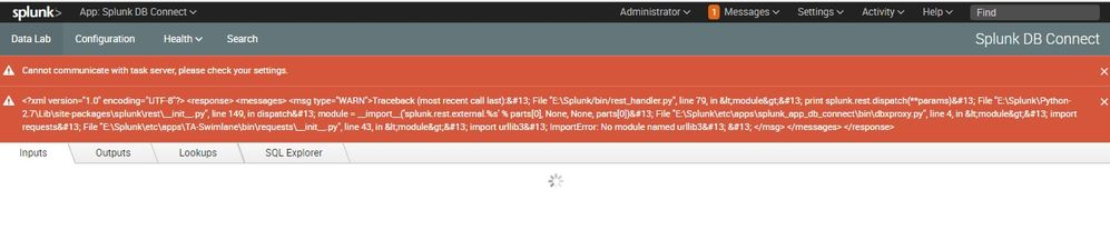 Splunk DB Connect app Error