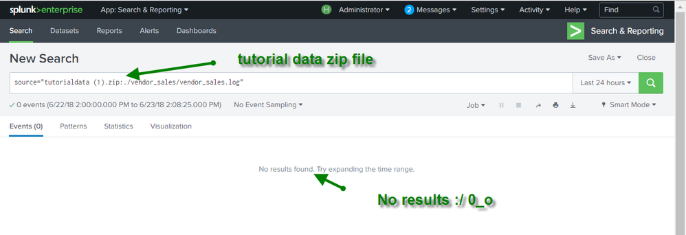 No results in a search for the vendor_sales.log in the tutorialdata.zip file. Error detected.
