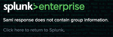 Splunk SAML SSO error