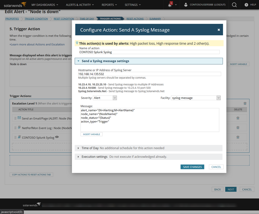 Solarwinds Trigger Action